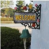 Timbre de la puerta del jardín de flores retro Granja 3D de hierro fundido timbre de Bell de mano de doble cara mou creativo de hierro forjado de metal de montaje en pared puerta canto de un pájaro Ca
