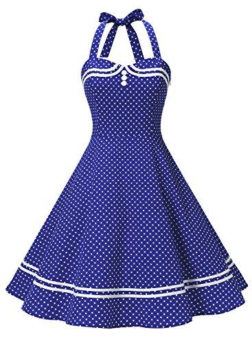 Timormode Vestido Cóctel Corto Vintage 50s Cuello Halter Vestido De Fiesta Rockabilly Mujer Azul Real Puntos XS