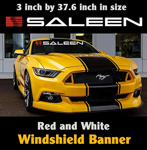 Ford Saleen Mustang Windshield Banner White and Red 3 inch by 37.6 inch / Decal / Sticker / Emblem Mustang / Boss / GT.