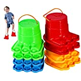IROO Balancing Stilts for Kids, 4 Pairs Plastic Walking Stilts Children Monster Feet Toys with Adjustable Rope Gifts for Balance and Coordination,Strength, Active Play(8 Stilts Total)