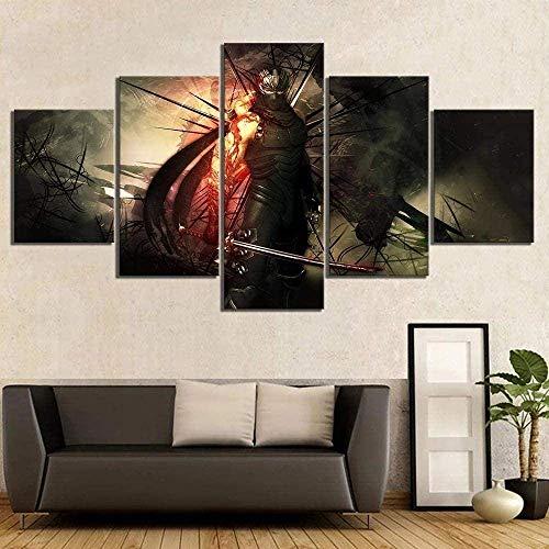 Sihuanian 5 piezas de fotos sobre lienzo 5 juegos de pinturas impresas Decoración de arte de alta definición y carteles The Painting Ninja Gaiden Videojuego (100 x 50 cm sin marco)