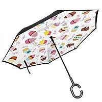 猫のシルエット 長傘 レディース 逆さ傘 逆折り式傘 日傘 雨傘 逆転傘 ワンタッチ 自立傘 手離れc型手元 車用 Uvカット 耐風 撥水 遮光遮熱 リバース傘