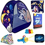 MITCIEN Kids Spaceship Play Tent Outer Space Themed Design & Flashlight Projector Toy &Jigsaw Puzzle Book & Pop Stickers for Baby Boys and Girls Pop Up Play Tent