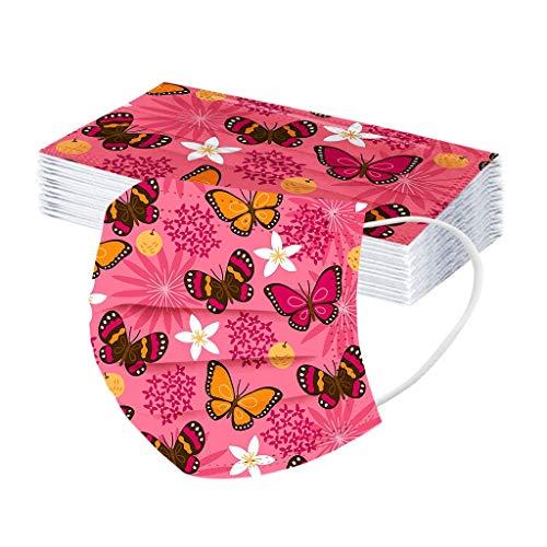 JMNy Erwachsene Einweg Mundschutz Multifunktionstuch, 3-lagig Glühender Schmetterling Gedruckt Maske,Weiche Staubdicht Atmungsaktive Vlies Mund-Nasenschutz Bandana Halstuch
