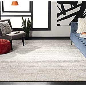 Safavieh Adirondack Collection ADR113B Modern Ombre Non-Shedding Stain Resistant Living Room Bedroom Area Rug, 8′ x 10′, Ivory / Silver