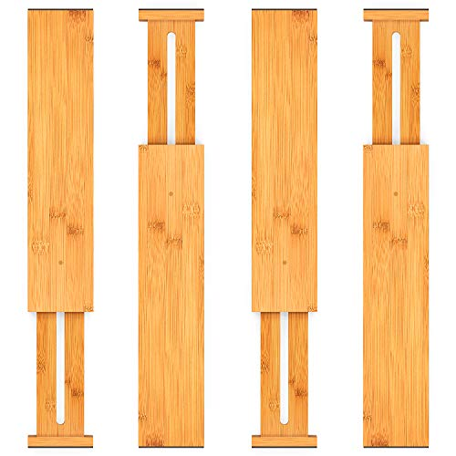 Bamboo Adjustable Expandable Drawer Dividers Organizers Wooden Kitchen Closet Organization Separators 125 to 17 IN 4 Pack for Dresser Bathroom and Office by Pipishell