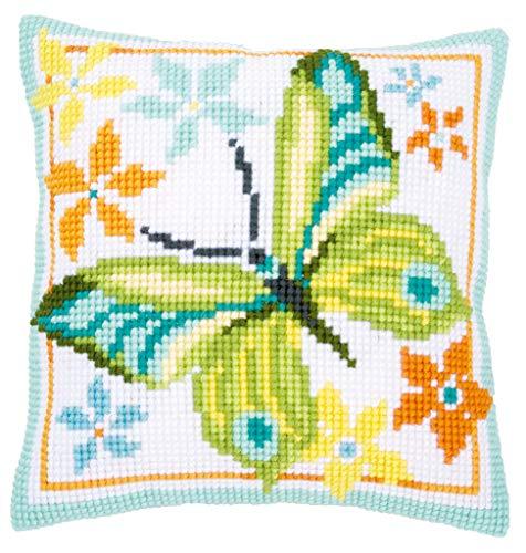Vervaco kussen: groene vlinder, acryl, meerkleurig, 10 x 1 x 14 cm