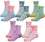 HzCojulo Kids Toddler Big Little Girls Fashion Cotton Crew Cute Socks -5 Pairs...
