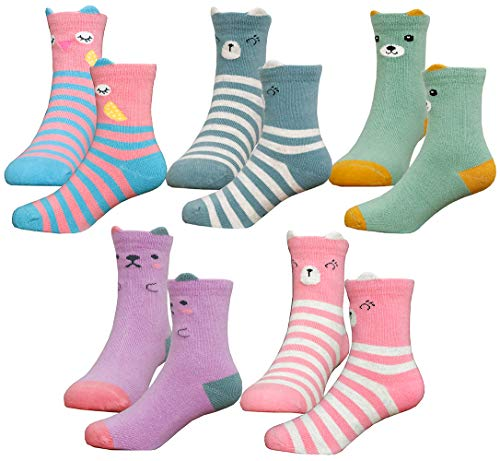HzCodelo Kids Toddler Big Little Girls Fashion Cotton Crew Cute Socks -5 Pairs