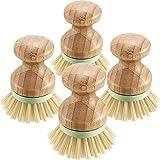 NEYOANN Cepillo de Fregar de Bambú de 4 Piezas Cerdas de Coco Cepillos para Ollas Fregadora de Platos para SartéN de Hierro Fundido, Fregadero de Cocina, BaaO, Limpieza del Hogar
