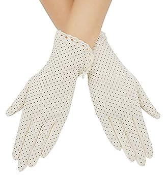 Lovful Summer Women Screentouch Gloves Sun Uv Protection Driving Gloves,White