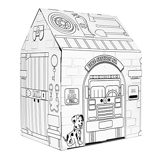 Easy Playhouse Police and Fire Station - Kids Art & Craft for Indoor & Outdoor Fun – Decorate & Personalize The Cardboard Fort, 32' X 26. 5' X 40. 5' - Made in USA, Age 3+ [AMZN Exclusive], white