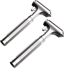 OUDEW Glass Breaker, Window Hammer, Metal Car Safety Hammer,with Hard Alloy Head Window Breaker Seat Belt Cutter Aluminium Alloy Emergecy Escape Tool(2PCS)