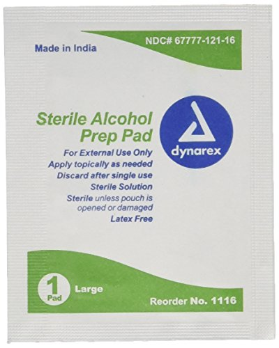 Dynarex Alcohol Sterile Prep Pads, Large, 100 Count