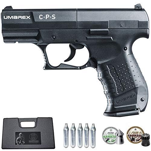 Ecommur. CPS umarex | Pistola de Aire comprimido y perdigones semiautomática 4,5mm + maletín + 2 Cajas de balines y CO2