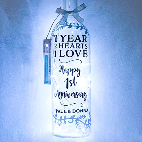 Personalised First Wedding Anniversary Gifts, One Year, Paper, Bottle Light for Couple