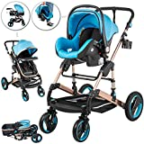 VEVOR Baby Strollers 3 in 1 Portable Infant Baby Carriage Travel System High View Baby Pram Anti Shock Springs Pushchair Pram Buggy Jogger Stroller(Blue Color)