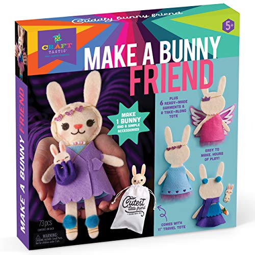 Craft-tastic – Make a Bunny Friend Craft Kit – Learn to Make 1 Easy-to-Sew Stuffie with Clothes & Accessories