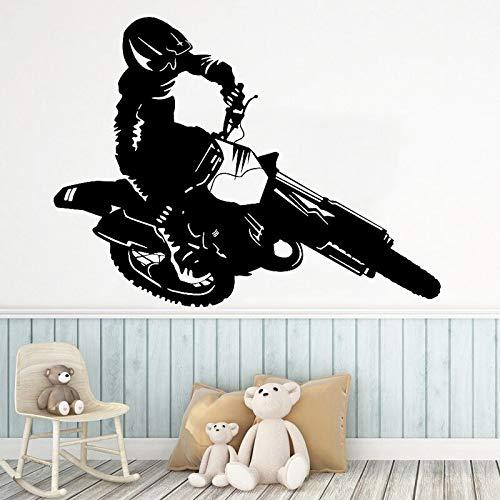 Ofomox Pegatinas de Pared de Motocicleta Caballero Decoración del hogar Decoración de Dormitorio de niño Motocicleta Todoterreno Deportes Extremos Mural 57x77cm
