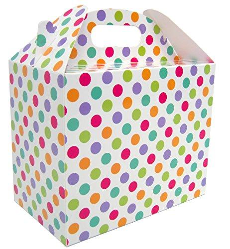Jaffa Imports Ltd 10 x Geschenkboxen / Giebel Boxen / Party Boxen / Party Taschen - Mehrfarbige pickelige Polka-Dot-Geschenkboxen