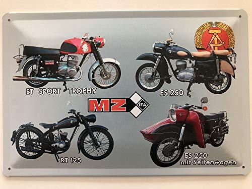 Deco 7 metalen bord 30 x 20 cm DDR motorfiets MZ 4 modellen