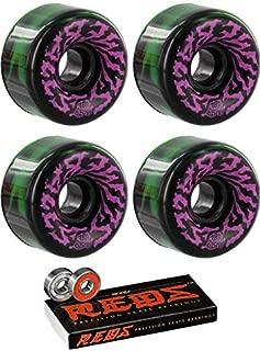 Santa Cruz Skateboards 65mm Slimeballs Swirly Black/Green/W/Pink/Purple Skateboard Wheels - 78a with Bones Bearings - 8mm Bones Reds Precision Skate Rated Skateboard Bearings (8) Pack - Bundle