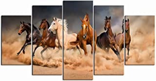 LevvArts - Large 5 Piece Painting Running Horse Canvas Wall Art Wild Animal Picture Print on Canvas Modern Home Office Living Room Decoration Framed Gallery Wrapped