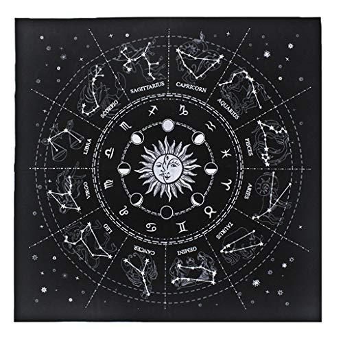 YUZI 49*49cm franela tarots mantel estrella adivinación 12 constelaciones astrología
