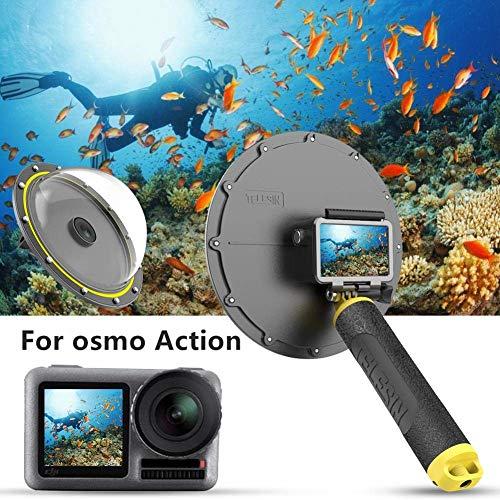 TELESIN Dôme de plongée pour DJI Osmo Action – Couverture Transparente pour Photographie sous-Marine,Boîtier étanche pour Osmo Action Accessoire