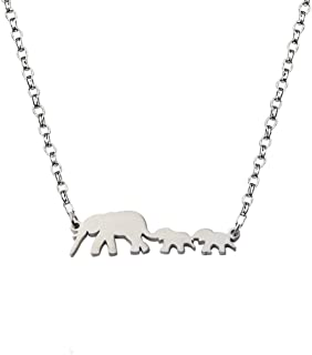 Three Happiness Elephant Family Necklace for Mother and Daughter Twins