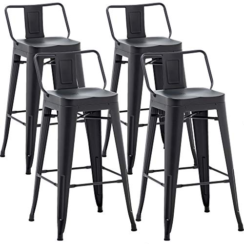 AKLAUS Metal Bar Stools Set of 4 Counter Height Stools 26 Inchs Counter Stools with Backs Black Bar stools with Backs Bar Height Stools 26' Ergonomic Seat, Low Back, Matte Black