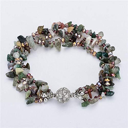 Pulsera Pulseras Y Brazaletes De Piedra Natural Multicapa para Mujeres Chica Crystal Bead Charms Magnet Bracelet G