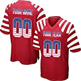 Custom Men's Striped Mesh Football Game Jersey Stitched Team Name and Your Numbers,Red-USA Flag Size 3XL