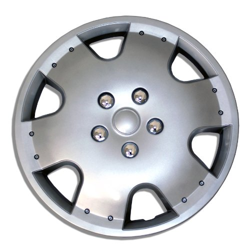 TuningPros WSC-720S16 - Pack of 4 Hubcaps - 16-Inches Style Snap-On (Pop-On) Type Metallic Silver Wheel Covers Hub-caps