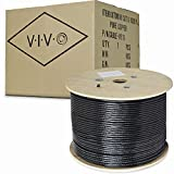 VIVO Black 1,000ft Bulk Cat6, Full Copper Ethernet Cable, 23 AWG, Cat-6 Wire, Waterproof, Outdoor, Direct Burial CABLE-V010