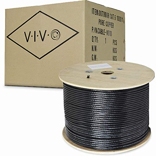 VIVO Black 1,000ft Bulk Cat6, Full Copper Ethernet Cable, 23 AWG, Cat-6 Wire, Waterproof, Outdoor, Direct Burial (CABLE-V010)