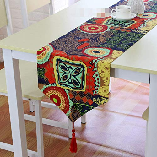 Generico Bohemian Style Cotton And Linen Retro Table Runner, Coffee Table Shoe Cabinet Dust Cover, Dressing Table Cover Towel, Kitchen Table Decoration 32x160cm