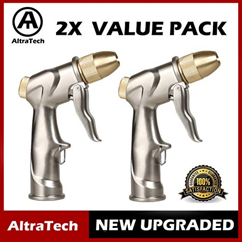 AltraTech Metal Garden Hose Nozzle Heavy Duty Spray Gun 2X Value Pack Metal Sprayer Brass for Car Washing, Plants Watering, Pets (Gold)