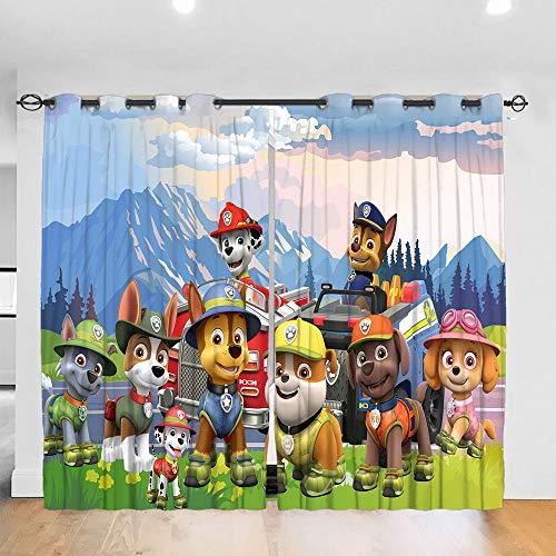 DONEECKL Cortina de fondo para decoración de dormitorio, diseño de la Patrulla Canina, cortinas correderas para decoración de patio W137 x L39 pulgadas con ojales superiores opacos