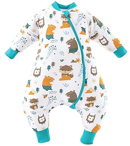 Chilsuessy Saco de dormir de invierno para bebé con pies, para todo el año, para niños y niñas, con manga larga extraíble, diseño de zoo de 2,5 tog, 70 cm de altura, 80 – 90 cm de altura