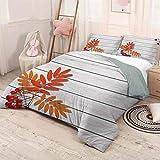 HELLOLEON Rowan Pure Bedding Hotel Luxury Bed Linen Diseño gráfico de follaje otoñal en tablones de madera Frescura crecimiento ecológico poliéster - Suave y transpirable (completo) naranja y gris