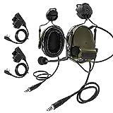 TAC-SKY COMTA IIIデュアルヘルメットバージョンタクティカルヘッドセット、ARCレールアダプターとU94 kenwood PTT附属 (アーミーグリーン)