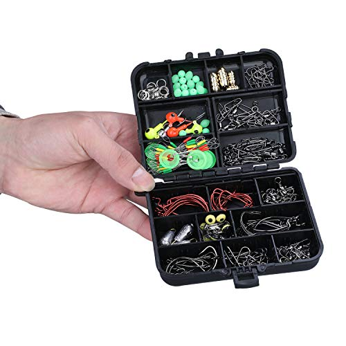 Fishing Accessories Kit, Including Jig Hooks, Bullet Bass Casting Sinker Weights, Fishing Swivels Snaps, Sinker Slides, Fishing Beads, Fishing Set with Tackle Box (174 Pcs Fishing Accessories Kit)