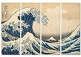 Panorama Cuadro de Aluminio Hokusai La Gran Ola de Kanagawa en 4 Piezas 100x70cm - Impreso en Aluminio Dibond Blanco Cuadros Vintage - Cuadros para Salón - Cuadros para Dormitorio