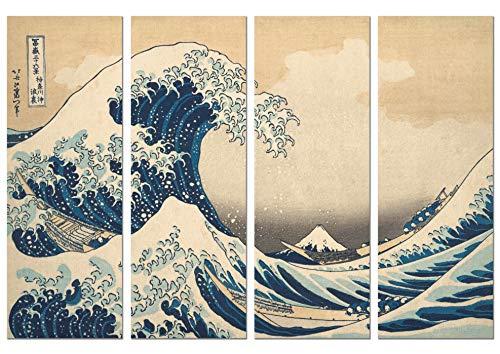 Panorama Póster Hokusai La Gran Ola de Kanagawa en 4 Piezas 70x50cm - Impreso en Papel 250gr -Póster Pared - Cuadros Decoración Salón - Cuadros Vintage -Póster Decorativos