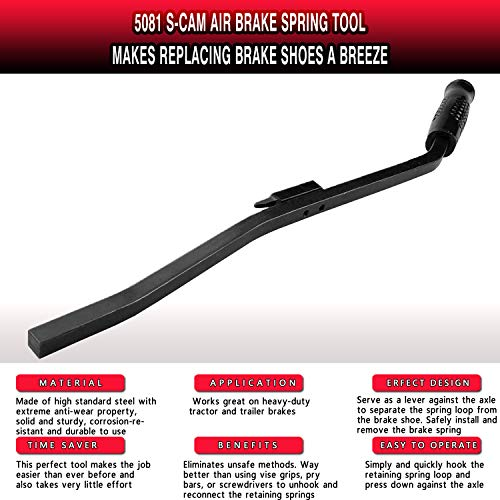 Fayedom 5081 S-Cam Air Brake Spring Tool, Replace Brake Shoes On Heavy-Duty Tractors and Trailers …