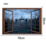 Adhesivos De Pared Estéreo 3D Fake Window Adhesivo De Pared Halloween Magma Hell Stickers Living Room Bedroom Set 70 * 50Cm