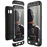 Winhoo Galaxy S7 Edge Case,3 in 1 Double Dip 360° Full Protection Ultra Slim Hard PC Cover Case for Samsung Galaxy S7 Edge (Black)