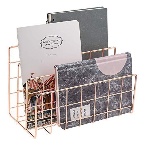 APcjerp Desktop-Mail-Organizer, 3-Slot Metalldraht Postsortierer, Brief Organizer for Briefe, E-Mails, Bücher, Karten und mehr, Post-Halter Rose Gold