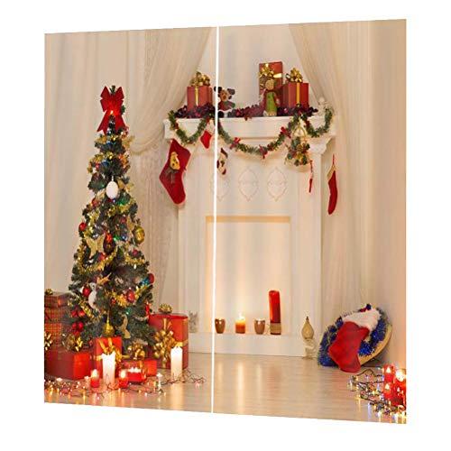 LIOOBO Cortina Impermeable de 1 Pieza Cortina de árbol de Navidad vívida para balcón de Sala de Estar de...